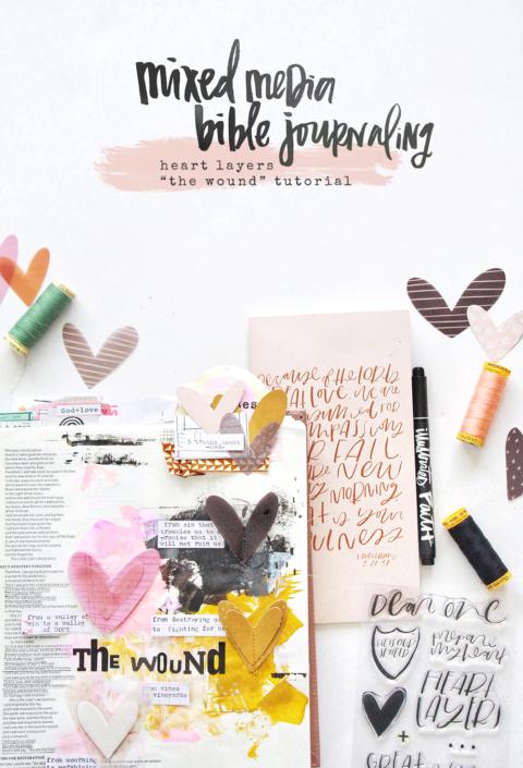 Mixed Media Bible Journaling Tutorial   Heart Layers Devotional   Hosea 2