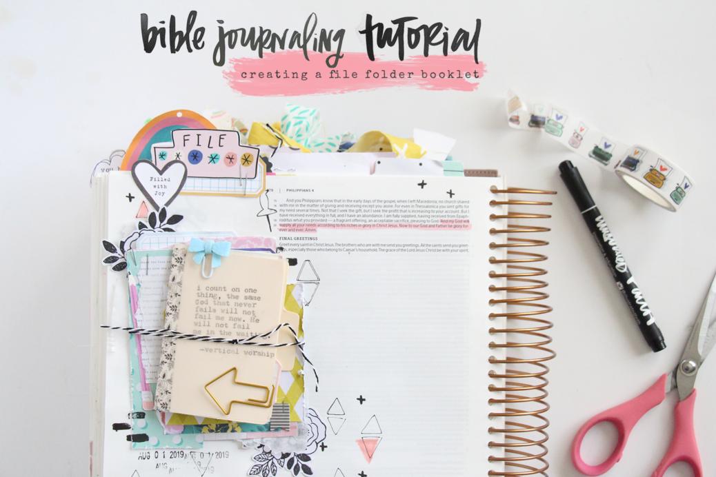 Bible Journaling Tutorial - creating a file folder booklet by Bekah aka Simply Bekah   A Book of Promises   Storyteller Devotional