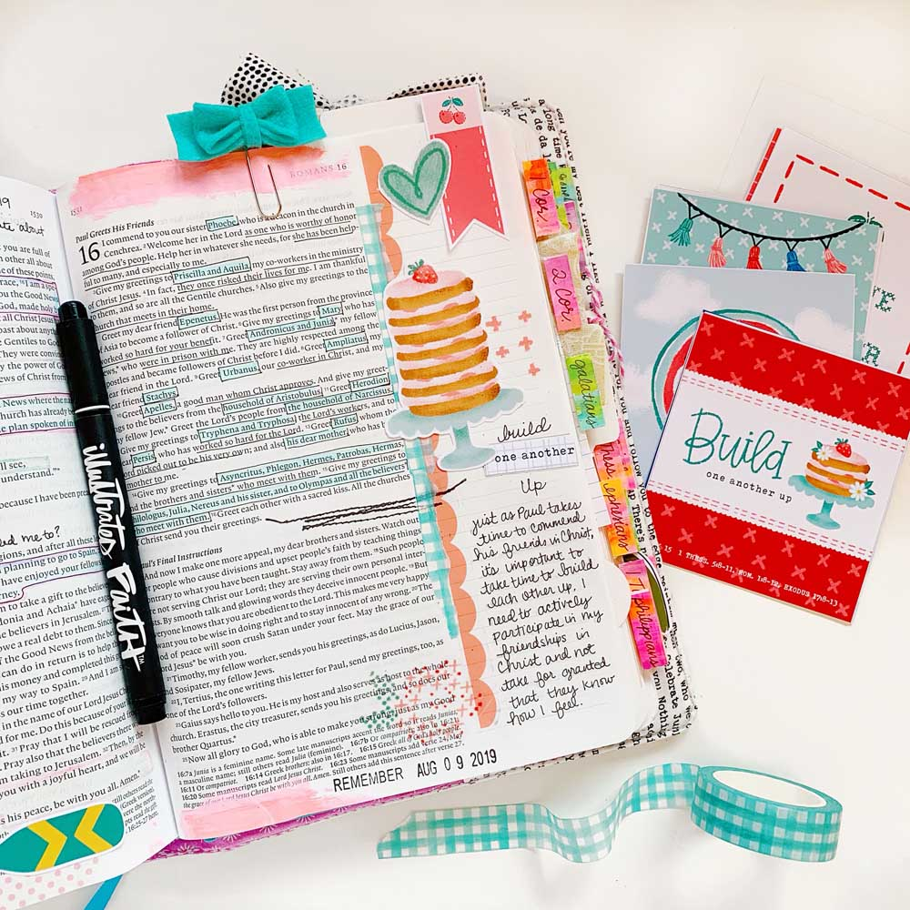 Print and Pray Hybrid Bible Journaling by Cristin Howell using digital printables | Build One Another Up | Romans 16