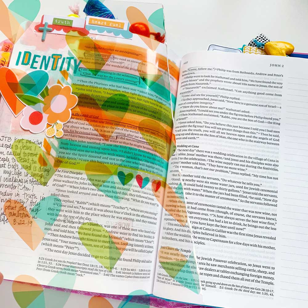 Print and Pray Hybrid Bible Journaling Tutorial by Cristin Howell using digital printables | Creating with Transparencies