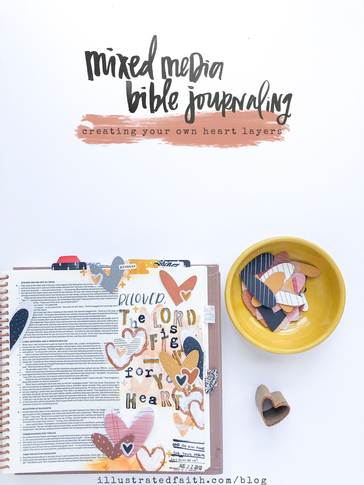mixed media bible journaling tutorial by heather greenwood | creating a cardboard heart stamp | Illustrated Faith Heart Layers Devotional Kit | Mark 5