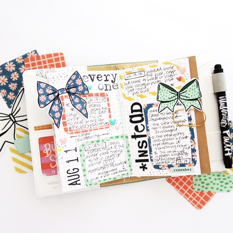 Print and Pray Hybrid Travelers Notebook Journaling with Sermon Notes Process Video by Jillian aka Hello Jillsky using digital printables   Put a Bow On It