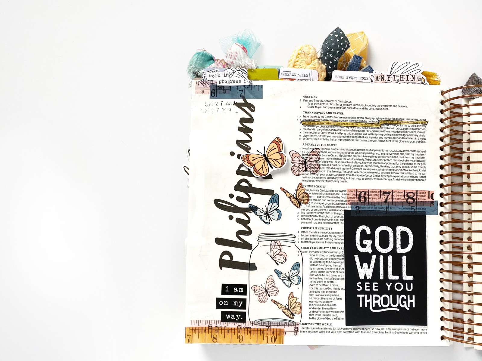 Print and Pray Bible Journaling by Becca Jensen using digital printables | God Will See You Through | Phil. 1:6
