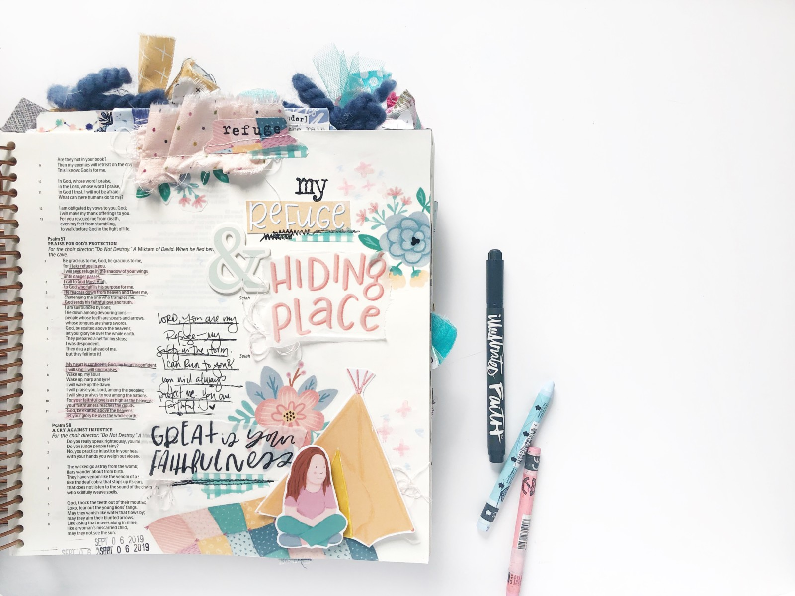 Print and Pray Bible Journaling by Becca Jensen using digital printables | Hiding Place | Psalm 57