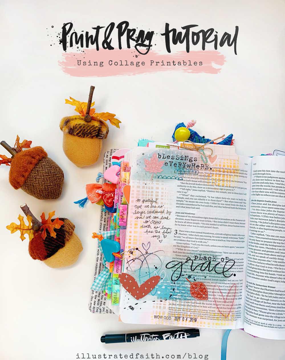 Hybrid Print and Pray Bible Journaling | Using Collage Printables | John 3