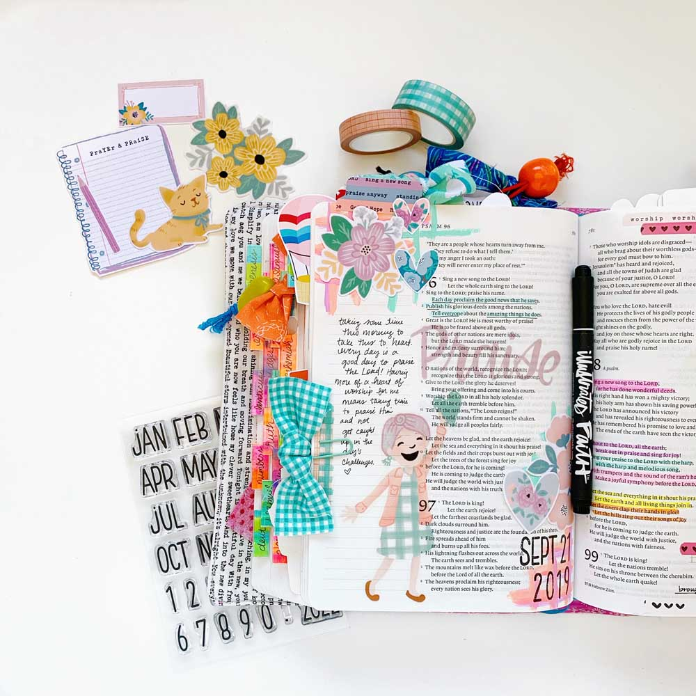 Hybrid Print and Pray Bible Journaling by Cristin Howell using digital printables   Praise Him!   Psalm 96