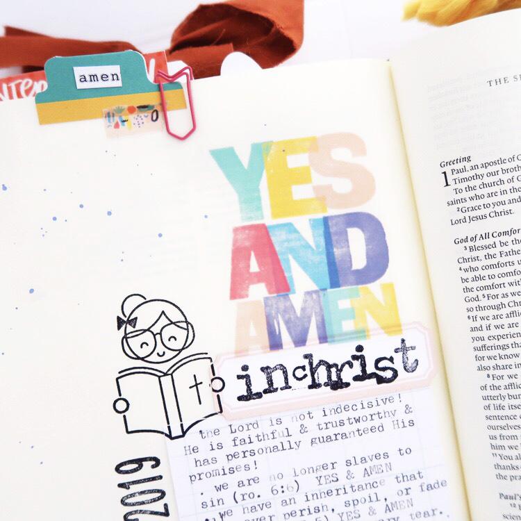Bible Journaling Process Video by Jillian aka HelloJillsky using digital printables | Tune In: Yes and Amen | 2 Corinthians 1:20