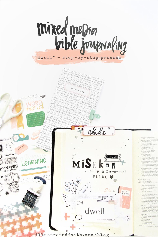 Bible Journaling step-by-step process by Bekah Lynn | Word Nerd Devotional Kit | Defining the word DWELL