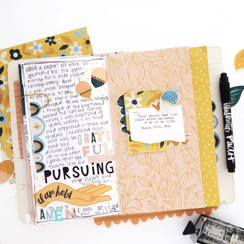 Print and Pray Journaling - Traveler's Notebook Process Video by Jillian aka Hello Jillsky using digital printables | Psalm 23:6