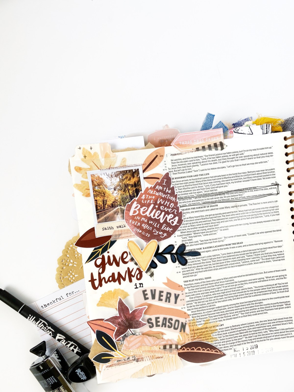 Print and Pray Bible Journaling by Becca Jensen | Give Thanks in Every Season | John 11:25
