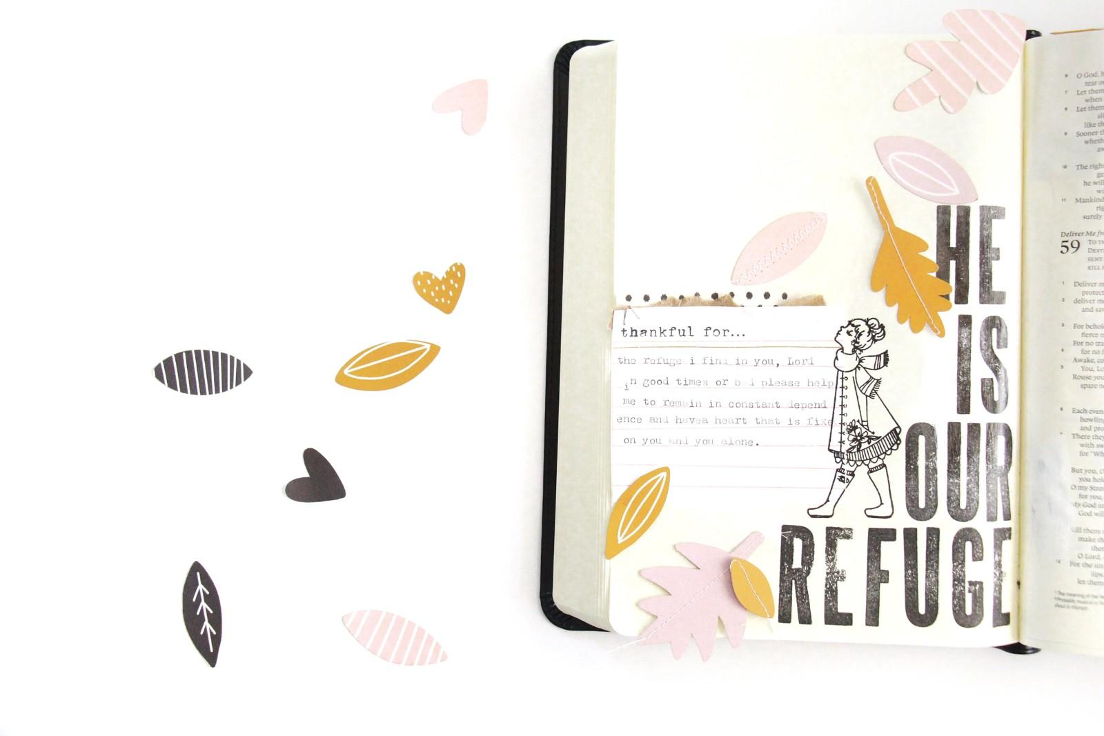 Gratitude Documented Day 6 Step by Step Process Tutorial by Bekah Lynn aka Simply Bekah   Refuge [Psalm 62:5-8]