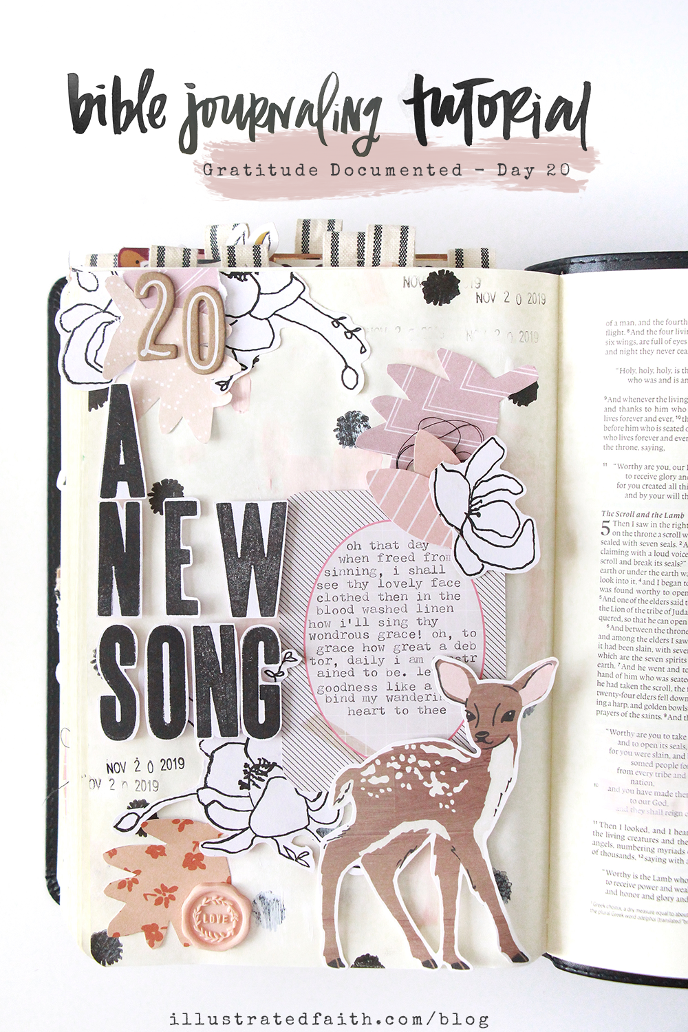 Gratitude Documented Step by Step Bible Journaling Tutorial layering paper pieces by Bekah Lynn – A NEW SONG – Revelation 5:9