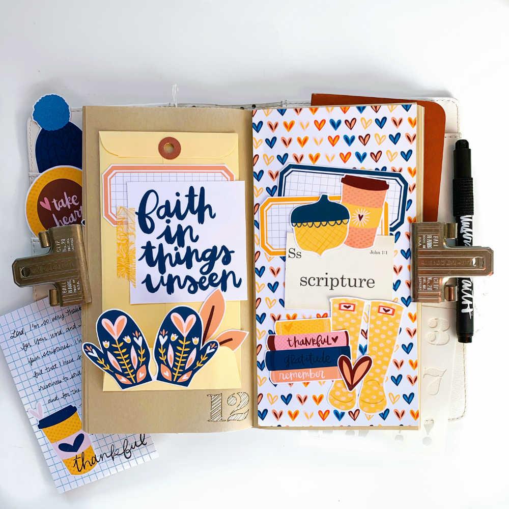 Gratitude Documented Print and Pray Hybrid Traveler's Notebook Journaling by Cristin Howell using digital printables | Day 12: Scripture | John 1:1