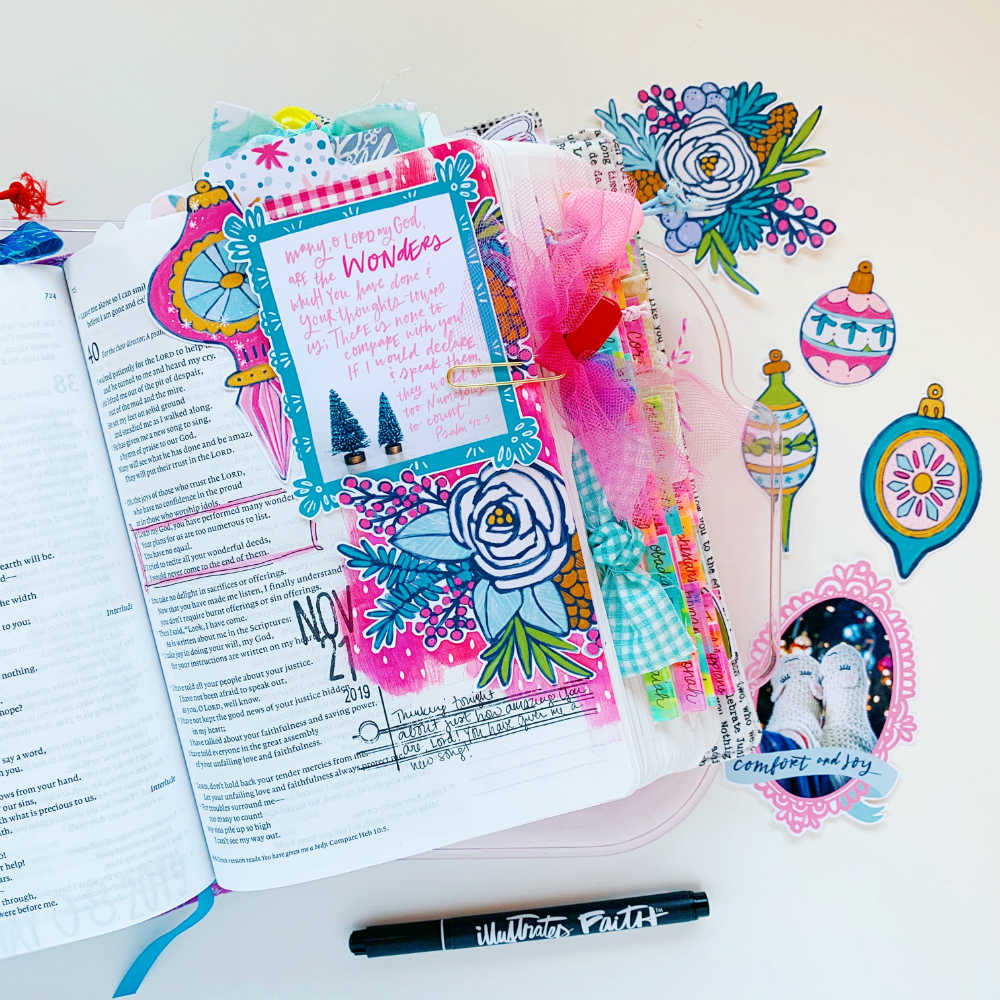Hybrid Print and Pray Bible Journaling by Cristin Howell using digital printables | His Wonders are Wonderful | Psalm 40