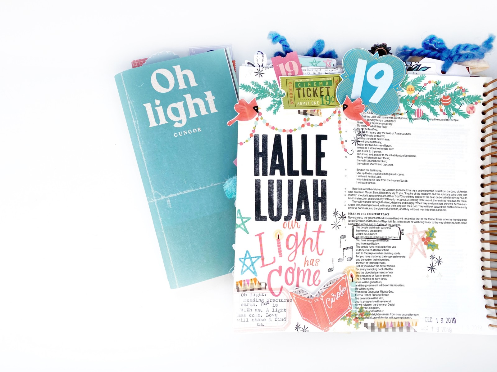Print and Pray Hybrid Bible Journaling by Rebecca Jensen using digital printables | Come and Carol | Day 19: Oh Light