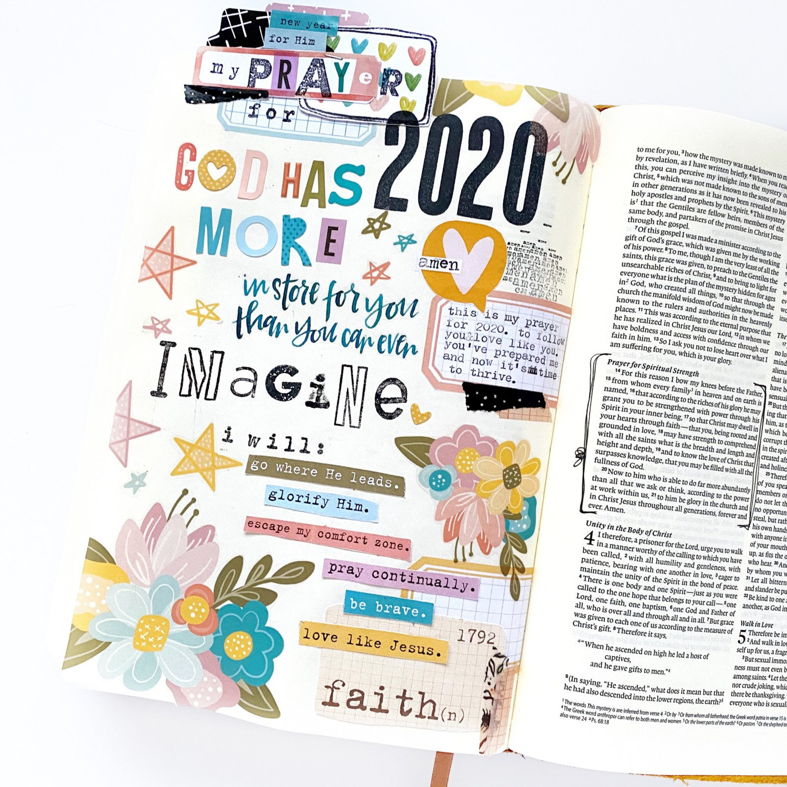 Print and Pray Bible Journaling by Becca Jensen using digital printables | My Prayer for 2020