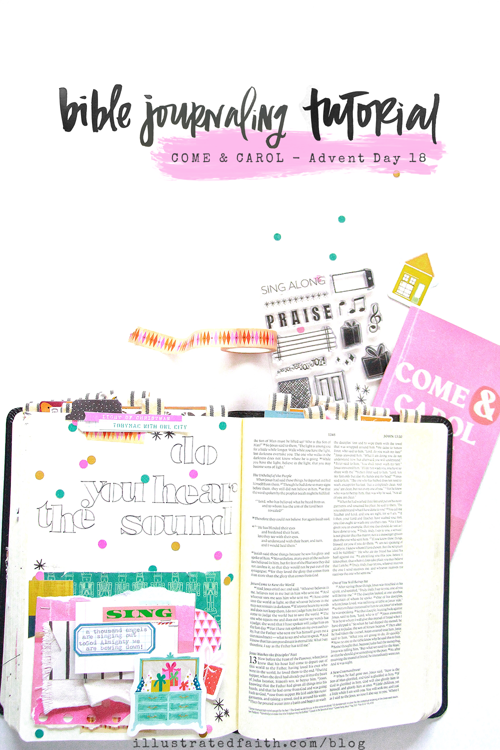 Come and Carol Advent Bible Journaling by Bekah Lynn aka SimplyBekah | Day 18 | Do You Hear The Sound