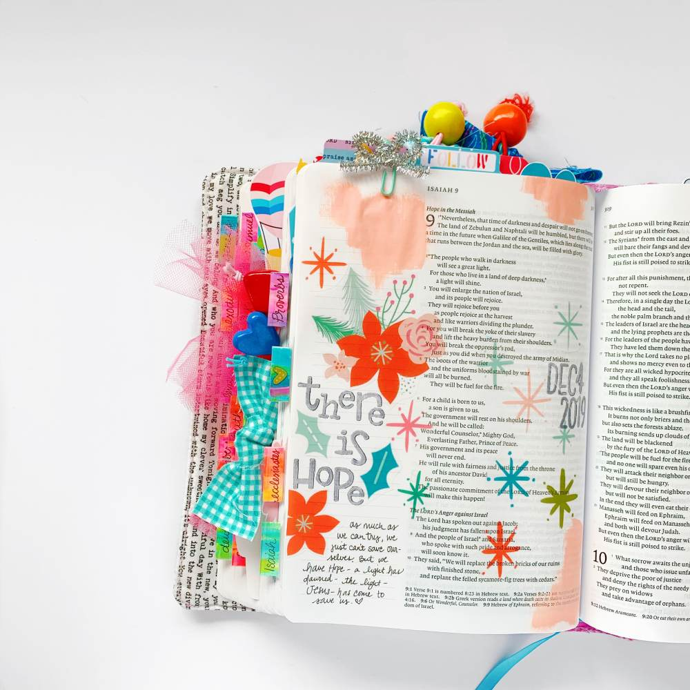 Hybrid Print and Pray Bible Journaling by Cristin Howell using digital printables | There is Hope | Isaiah 9