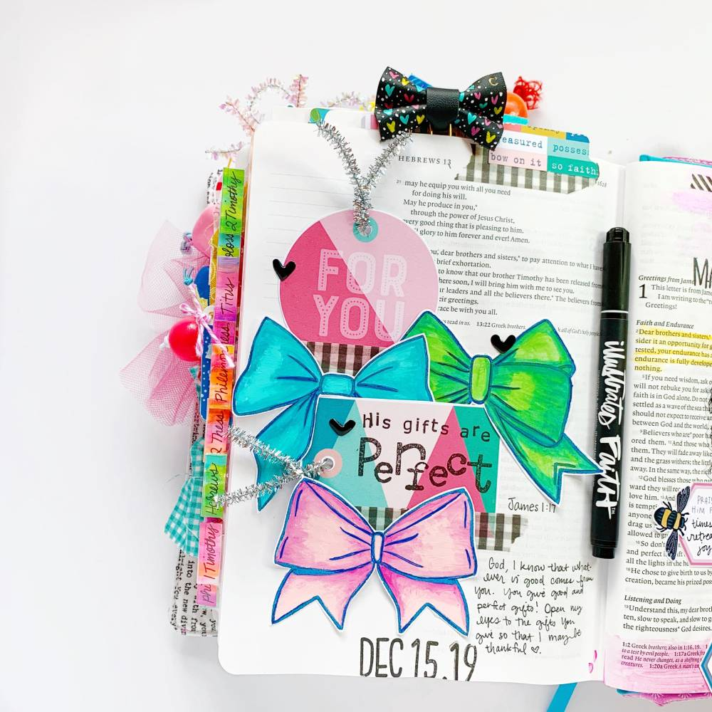 Hybrid Print and Pray Bible Journaling by Cristin Howell using digital printables | Let's Use Traceables! | James 1:17