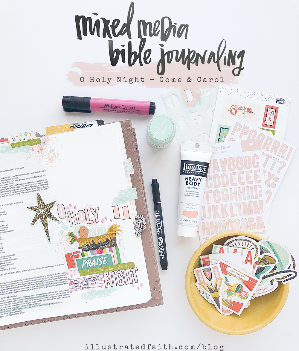 Mixed Media Bible Journaling by Heather Greenwood | Come and Carol Devotional - Day 11 | O Holy Night