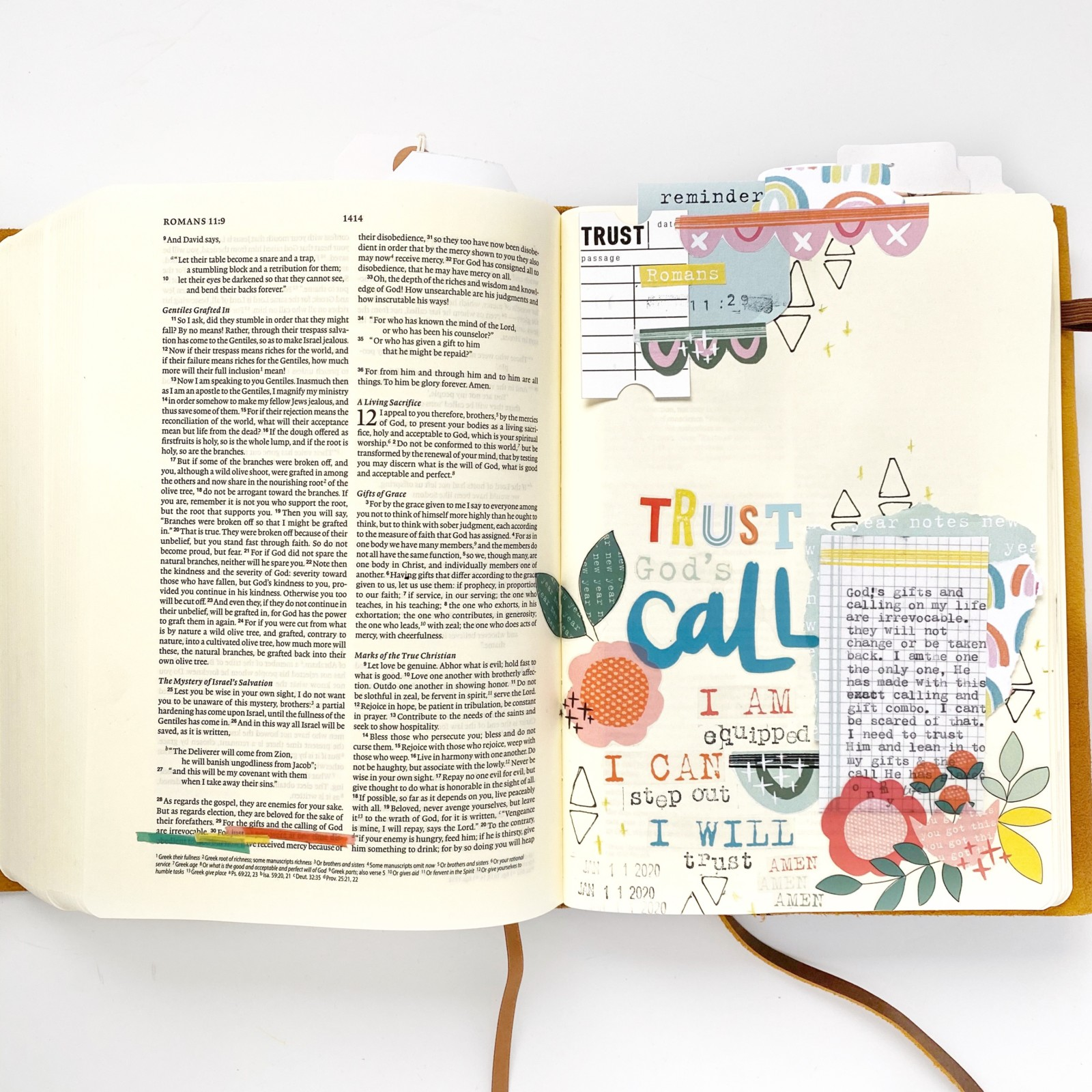 Print and Pray Bible Journaling by Becca Jensen using digital printables | New Year Notes