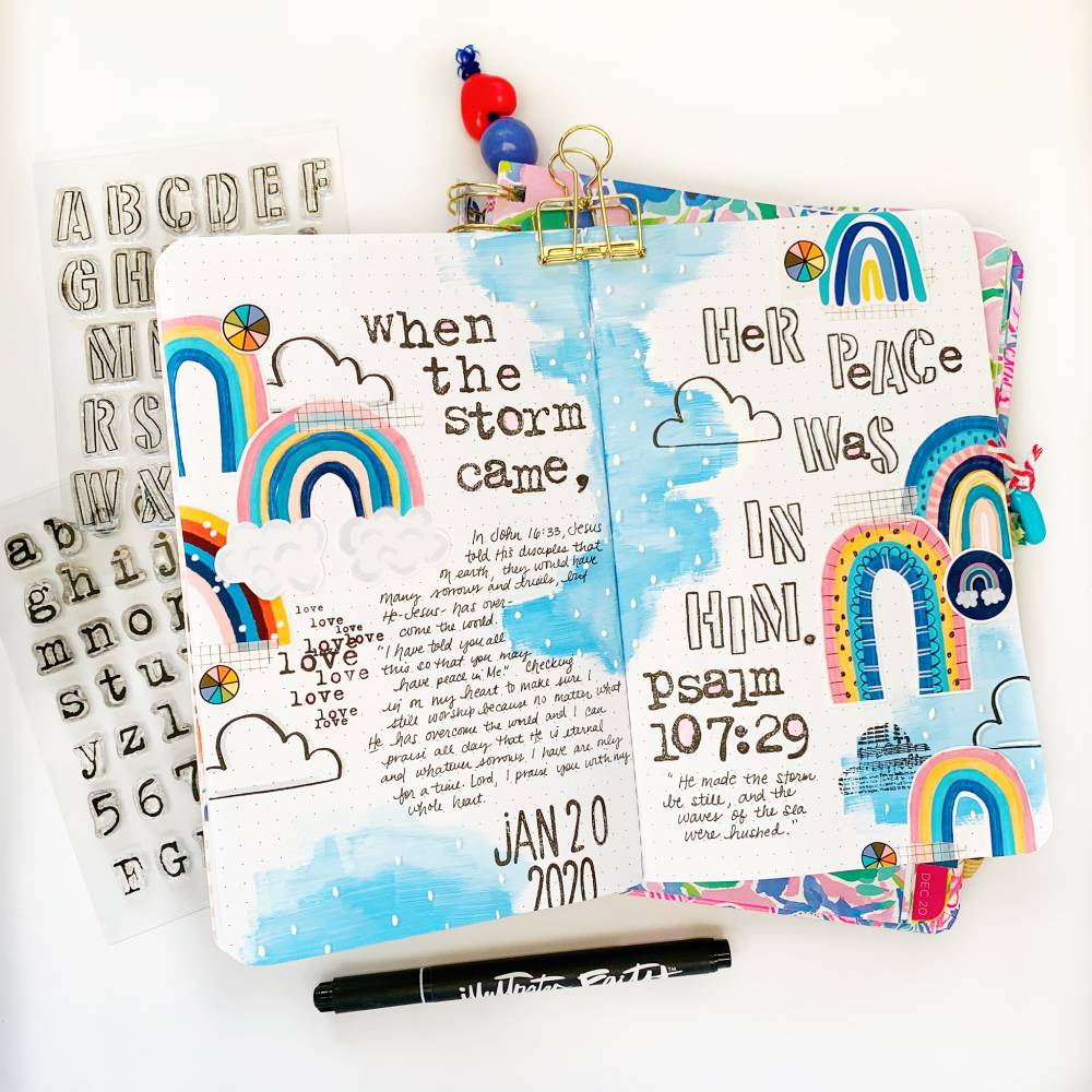 Hybrid Mixed Media Traveler's Notebook Journaling by Cristin Howell using digital printables | Worshipping in the Storm