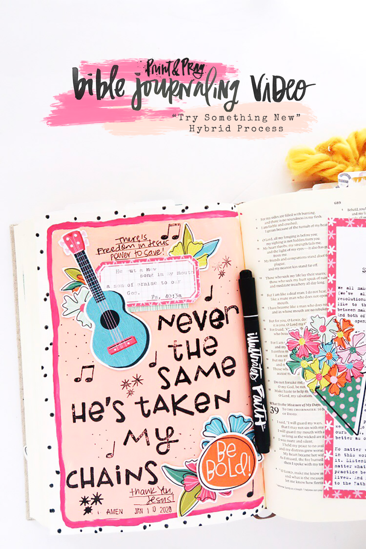 Bible Journaling Process Video by Jillian aka Hello Jillsky using digital printables | A New Song | Psalm 40:3